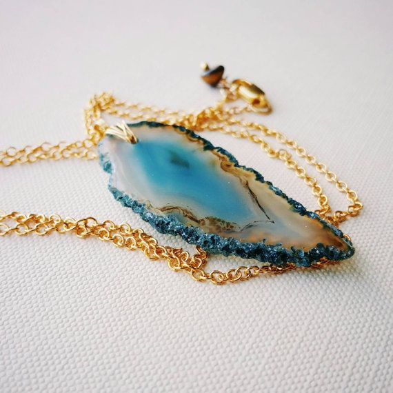 Smoky Blue Agate Slice . Long Gold Layering Necklace