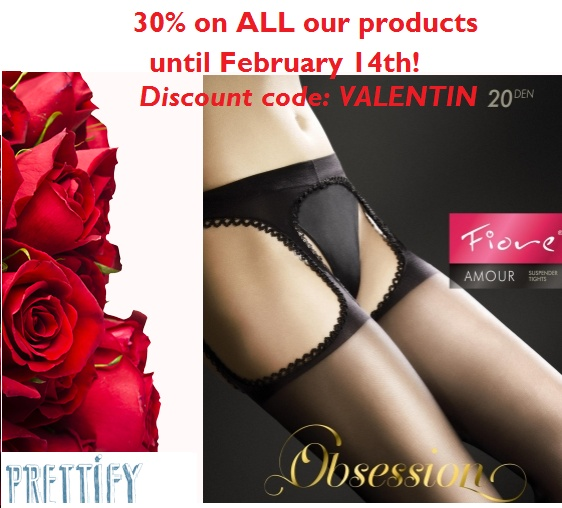 Be sexy for #ValentinesDay! 30% discount on ALL our products until Feb. 14th! Discount code: VALENTIN. HURRY UP! http://prettify.ch/en/women