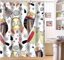 WJY504K23 Пользовательские Мультфильм симпатичные сова 02 Ткань Современной Душевой Занавес ванная комната Водонепроницаемый FY23(China (Mainland))