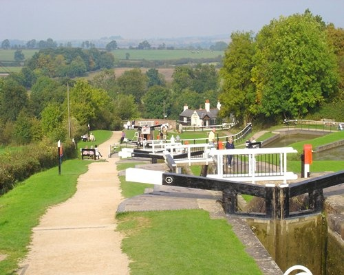 Foxton Locks. Foxton has two staircases of locks, each with five locks to navigate.