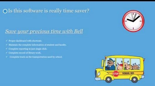 School bus routing and scheduling are among the major problems because school bus transportation needs to be safe, reliable and efficient. The school bus routing management system is the main part of the Bell Software. Bell software platform that integrates information from the bus, the route, and the driver to provide greater insight into the transportation.    Visit here: http://bell.macwill.in/features/