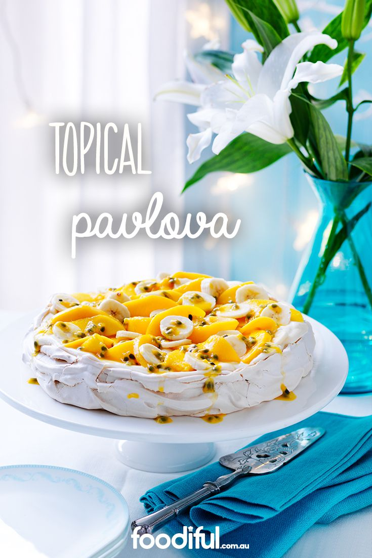 A sweet and summery dessert with passionfruit, mango and and banana. This beautiful pavlova serves 8 and takes 4 hrs and 30 mins to make.