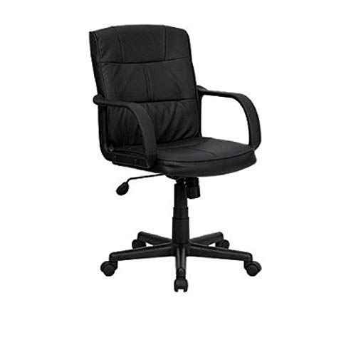 black leather desk chairs adjustable chair mid back office with nylon arms capacity and task us chooseandbuy