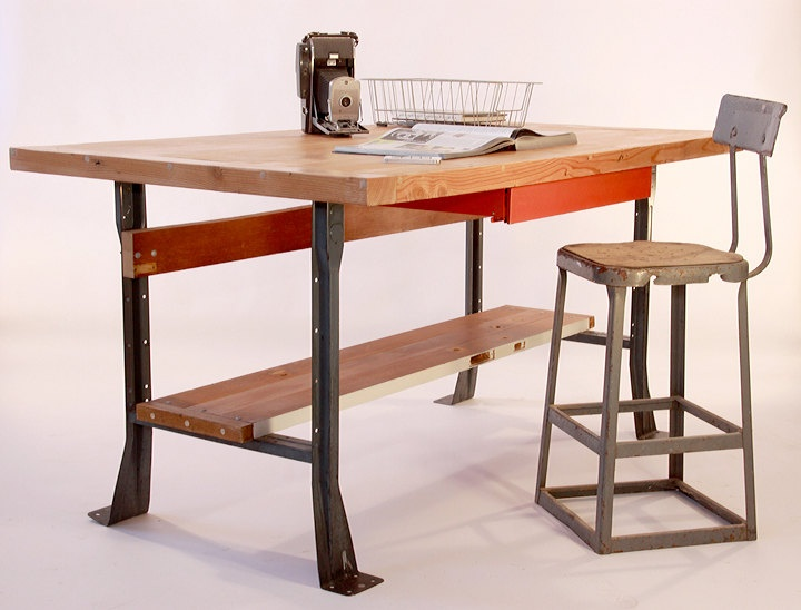 Upcycled Industrial Style Work Table/Desk/Kitchen Island. $675.00, via Etsy.