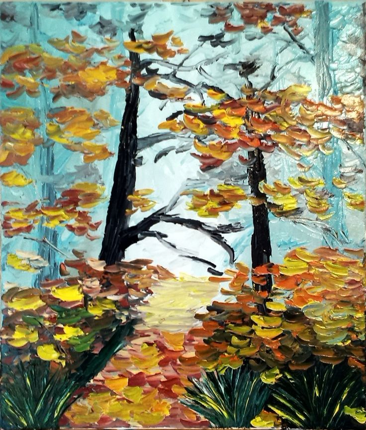 "Oil on canvas, knife painting ""Autumn in forest"""