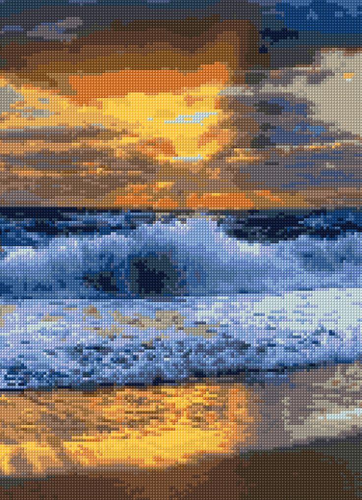diagram for ocean    ocean    sunset cross stitch pattern pdf easy chart with     ocean    sunset cross stitch pattern pdf easy chart with