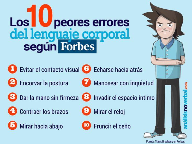 10 errores del Lenguaje no Verbal según Forbes #infografia #infographic