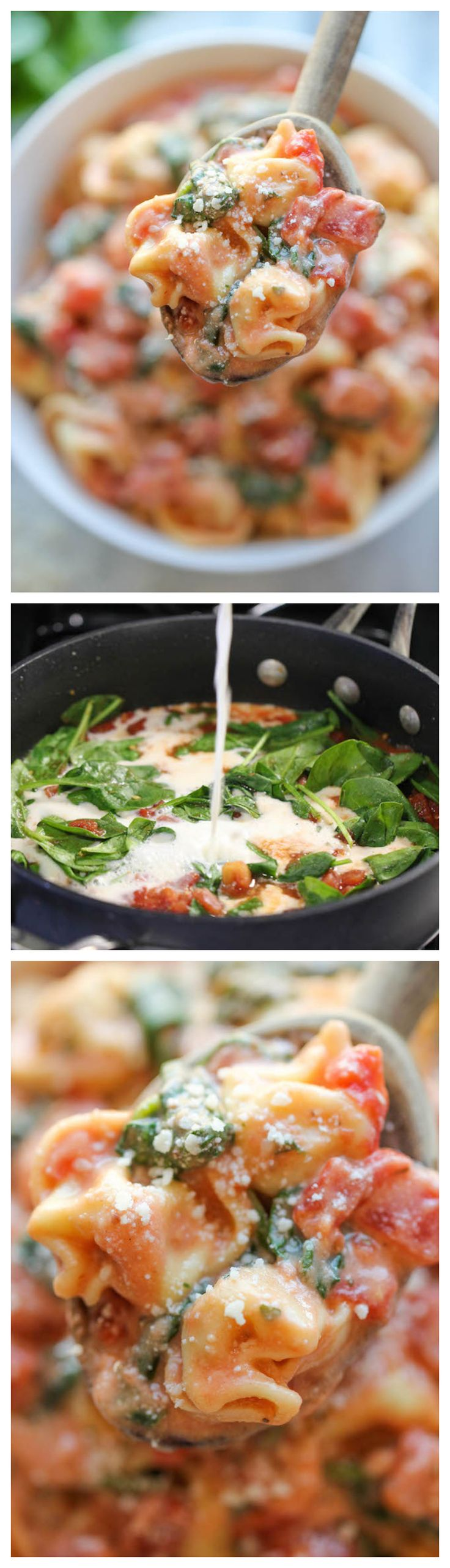 Spinach Tomato Tortellini - The most unbelievably creamy and tasty tortellini you will make in 15 minutes! #Dinnerin15