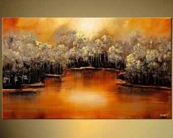 Artículos similares a Puesta de sol paisaje pintura contemporánea Resumen Blooming árboles pintura textura por Osnat - confeccionar - 40