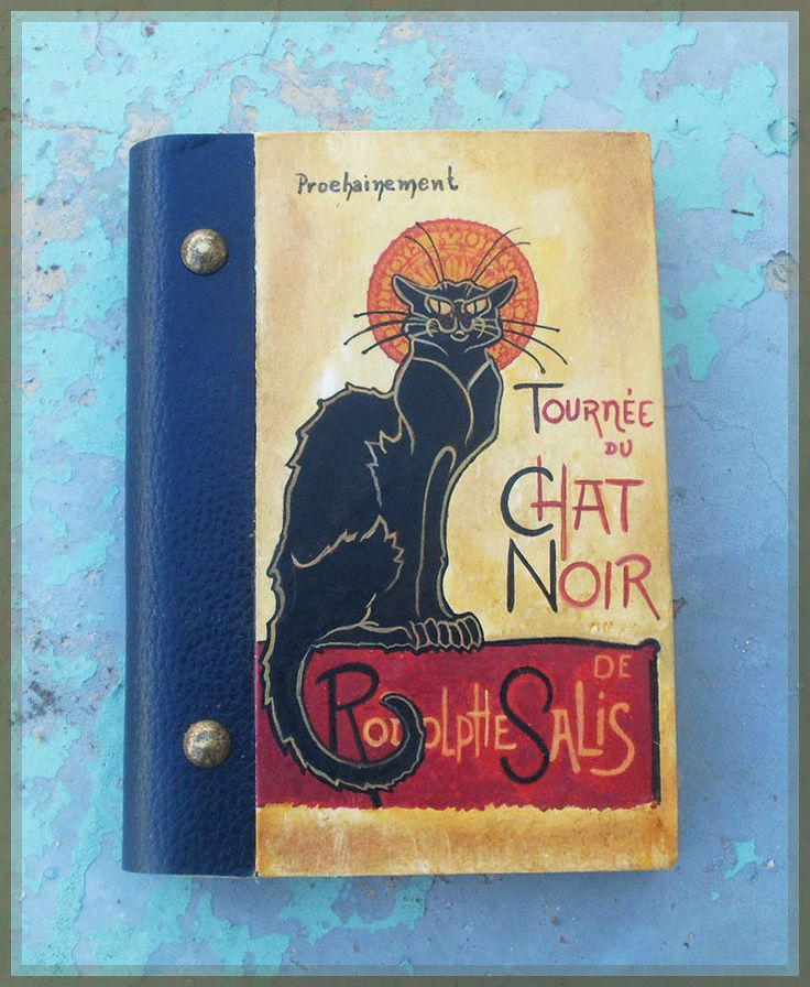 Notebook, Wooden Notebook, Custom Notebook, Journal Notebook, Writing Journal, Sketchbook, Art Nouveau, Tournée de CHAT NOIR by allabouthandicraft on Etsy