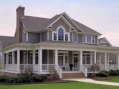 I adore this house. Not too big, not too small. I'd like it in a somewhat mix of a country/suburban area. Not too far out in the country, but not too close to the city. Lots of windows, wrap around porch, and a fireplace. <3 (Picture #1)