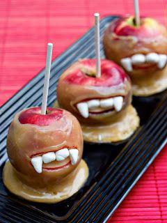 SPOOKY Halloween Treats - marshmellows and caramel apples on a stick