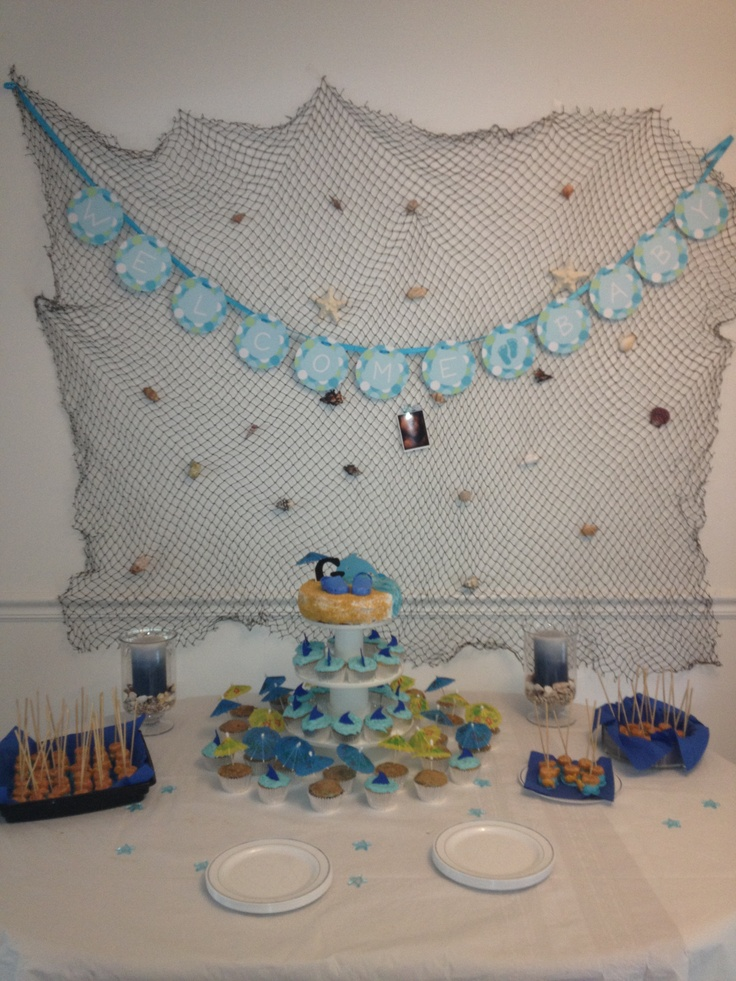 128 best images about boy nursery baby shower theme for Fish net decoration ideas