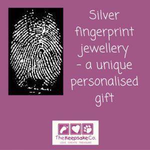 Silver fingerprint jewellery – a unique personalised gift. Fingerprints are truly special – even identical twins have different patterns – and they last unchanged through a person's lifetime.