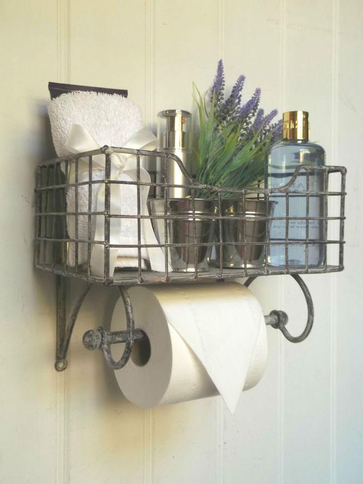 Shabby Chic Vintage French Toilet Roll Holder Storage Unit Rack Shelf Basket NEW eBay Good idea for toilet roll/ air freshener