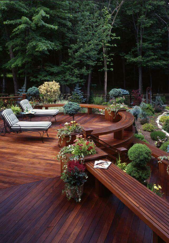 Adding A Beautiful Deck To Your Outdoor Space Will Make It Really  Impressive And Gorgeous. Decorate With Wooden Deck And Some Flowers.