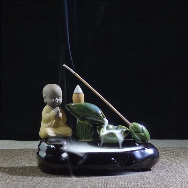 S Creative Backflow Censer Young Monk Furnishing Articles Violet Incense Burner Furnace Tower Back The Tea Ceremony To Watch