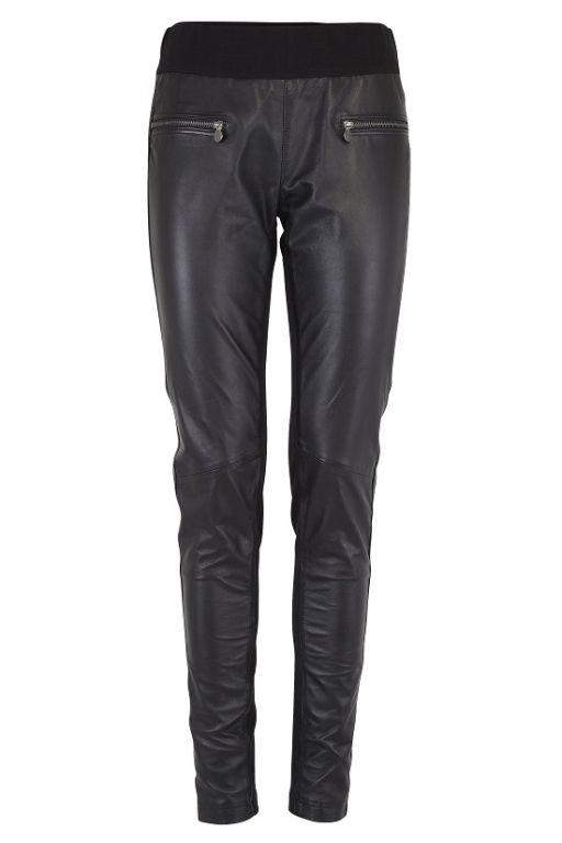 Fransa Hafashion Legging Leather Mixed With Milanoknit Black - Bukser - MaMilla