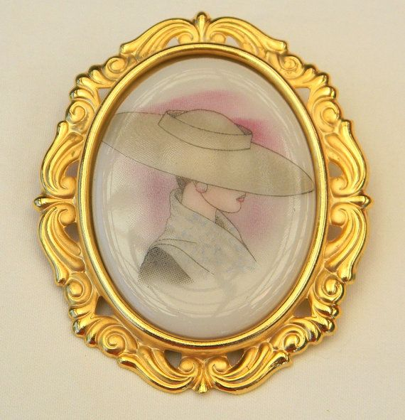 Vintage 1980s Glamour Lady with Hat Transfer Glass by Lauriechacha, $35.00