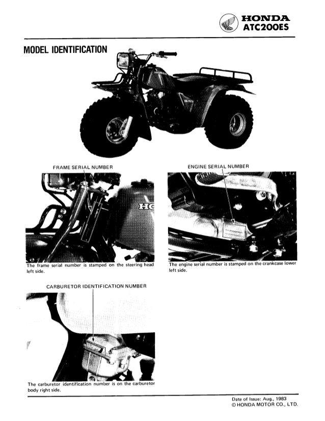 1984 Honda Atc200es Big Red Atv Service Repair Manual Repair Manuals Honda Atv