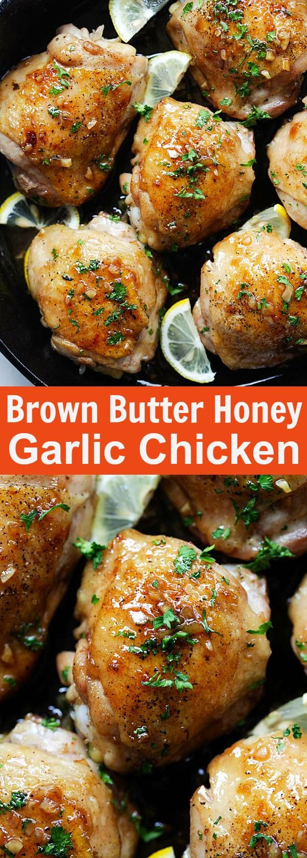 Brown Butter Honey Garlic Chicken Sweet Savory And Sticky Skillet Chicken With The Most Delicious Honey Garlic Sauce Easy Dinner For The Family