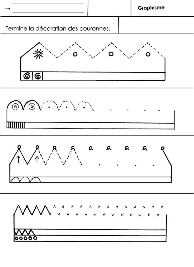 Tracer des montagnes ou des ponts pour dessiner des couronnes, à l'aide de repères. Les décorer avec des signes graphiques simples. - graphisme couronnes.docx - graphisme couronnes.pdf