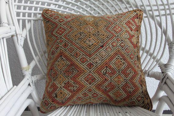 couvre-oreiller euro Kilim tissu canapé coussins kelim oreiller oreiller Bohème Sud-Ouest coussin sol housse de coussin 16 x 16 kilim oreiller 1671