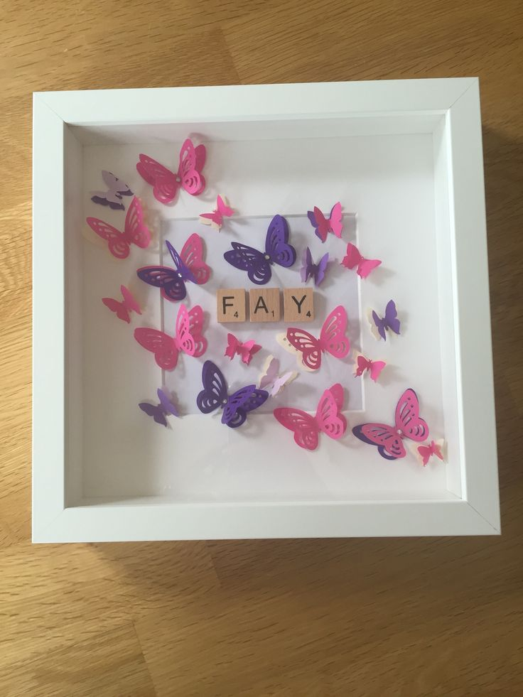 Personalised / handmade named photo frame /Scrabble letters / 3D butterflies - £15.00 plus P&P