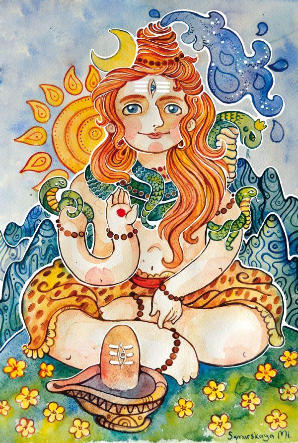 #Shiva #hinduism #India  #watercolor #illustration