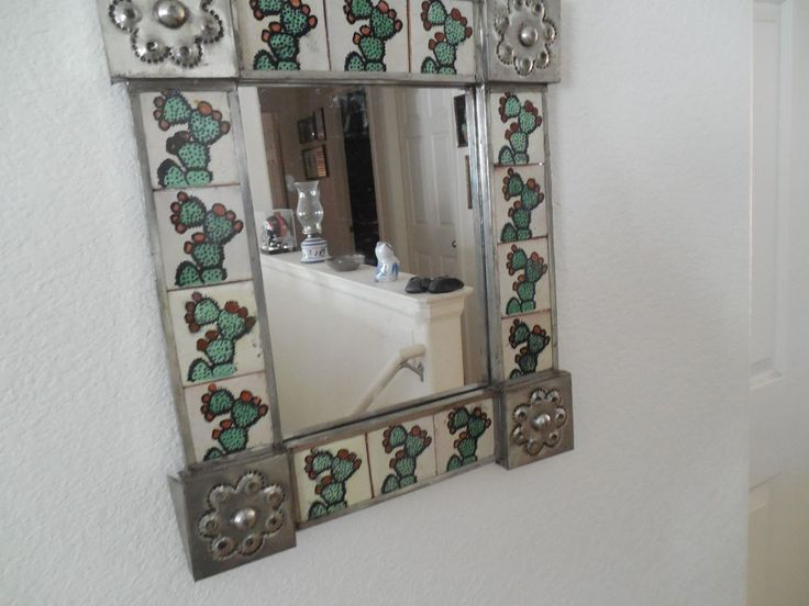 Southwestern Mirror with Mexican tile,tooled metal frame  #Unbranded #Southwestern :D