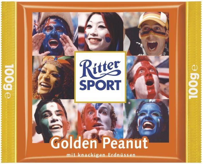 RITTER SPORT Golden Peanut Schokolade –eine Fan-Sonderedition zur Fußball Weltmeisterschaft 2006.