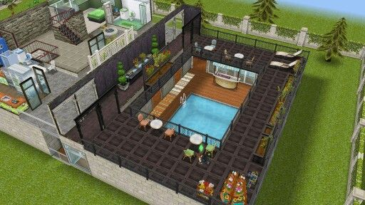 Balcony can see swimming pool sims freeplay house for Sims 4 balcony