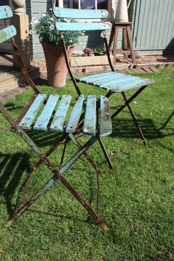 Set Of Three French Vintage Bistro Wooden Folding Chairs
