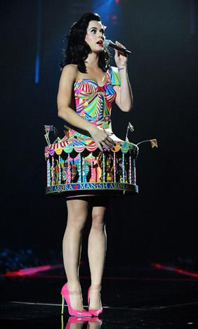 Katy  Perry  November 2008 Circus cuite! At the 2008 MTV Europe Music Awards in Liverpool, England, the pop star suited up in a carousel design.