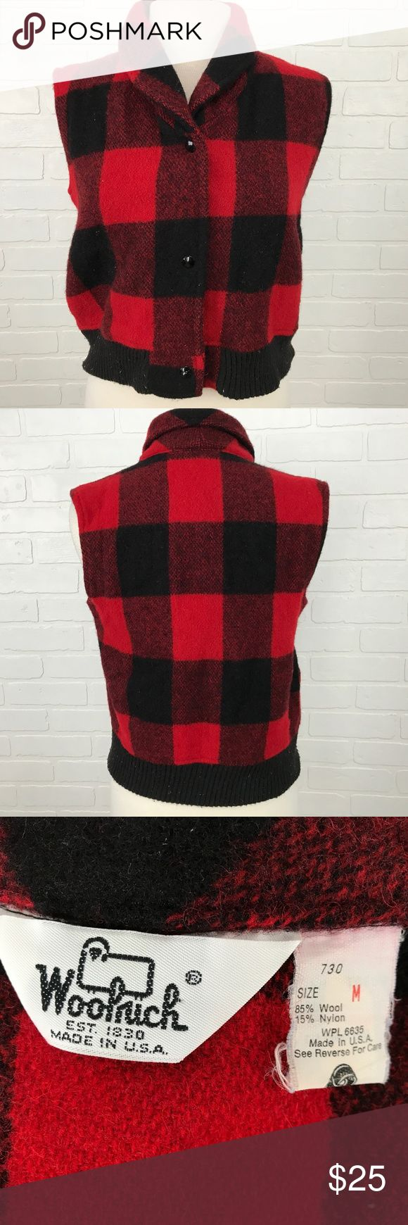 Red Black Plaid Vest Woolrich Vest Women's Size M BRAND                    :Woolrich					 SIZE	                 :Women's Medium STYLE	                 :Vest COLOR	                 :Red Black MATERIAL              :85% Wool 15% Nylon Inventory                : MQ96 B4 Woolrich Jackets & Coats Vests