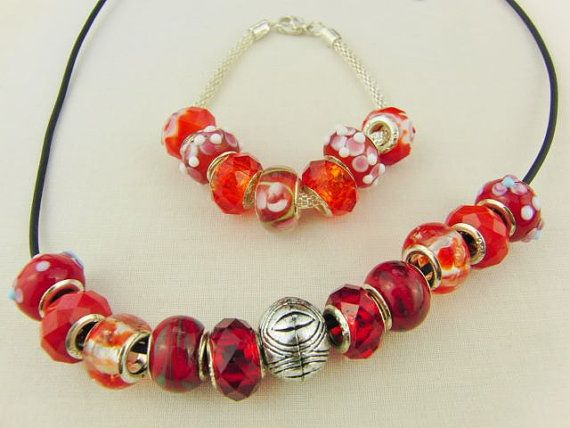 Red Lampwork Bead and Silver Spacer Jewellery Set Necklace