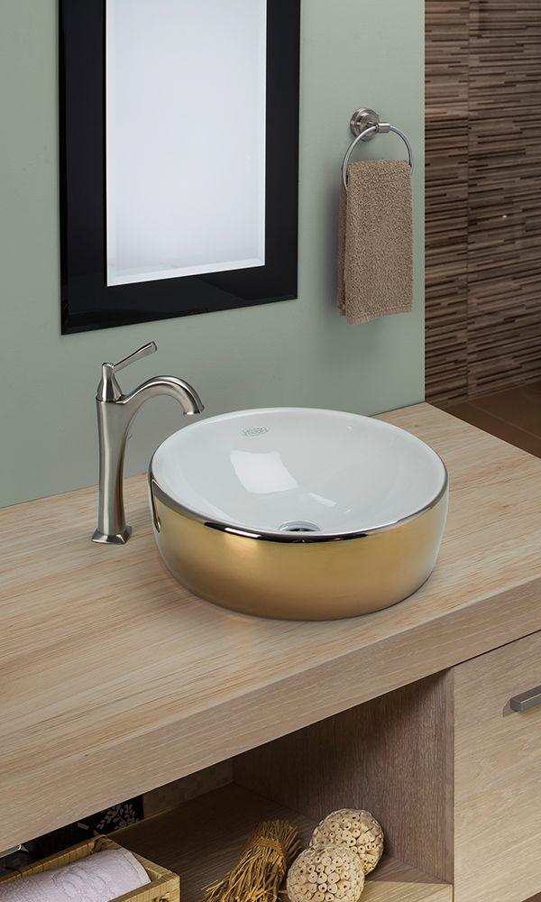 Lavabo para baos modernos modelo Allegra Lavabo de cermica en color dorado y blanco  Baos