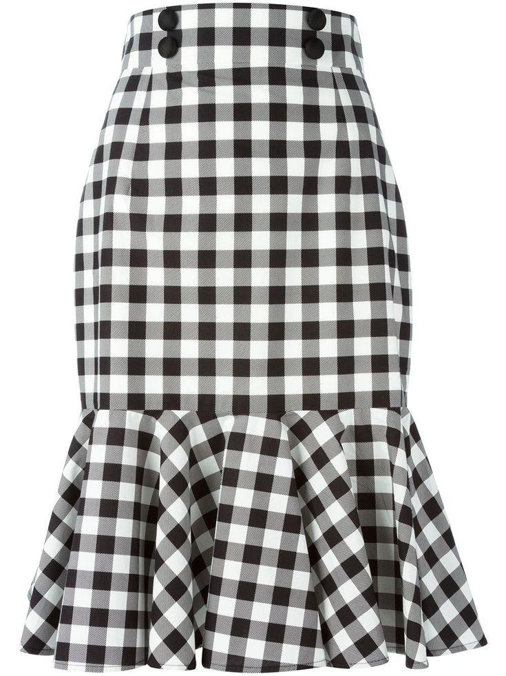 Dolce & Gabbana falda de cuadros con volantes