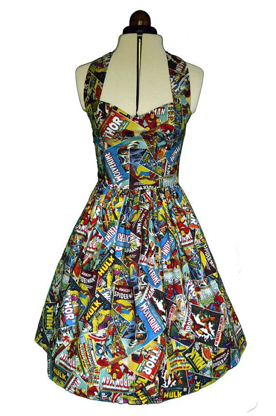 Marvel comic book dress Womens halterneck von Cyanidekissx auf Etsy