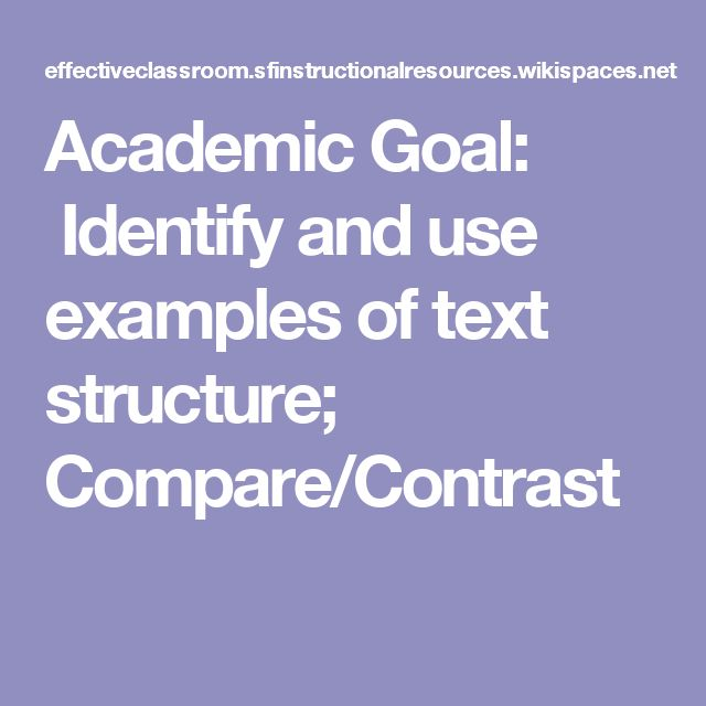 Academic Goal: Identify and use examples of text structure; Compare/Contrast