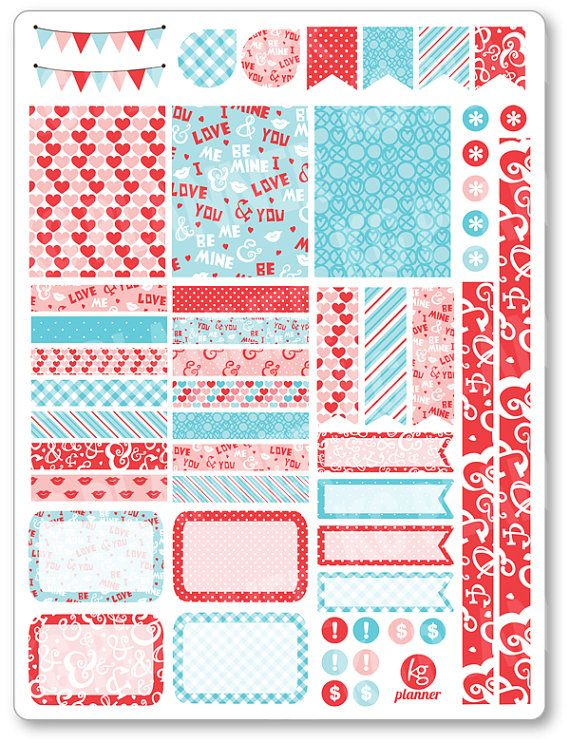 Be Mine Decorating Kit / Weekly Spread Planner Stickers for Erin Condren Planner, Filofax, Plum Paper