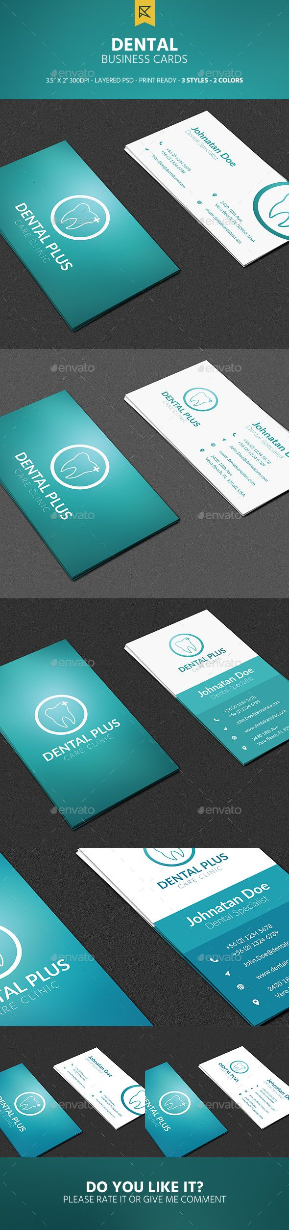 3 Dental Business Cards - Industry Specific Business Cards