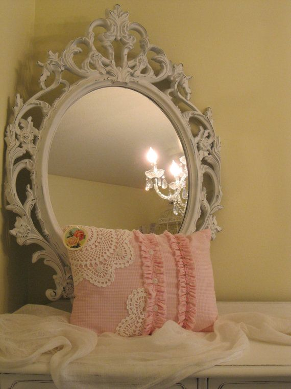 Sweet shabby chic cottage pillow in pink and by BrambleWoodANDivy