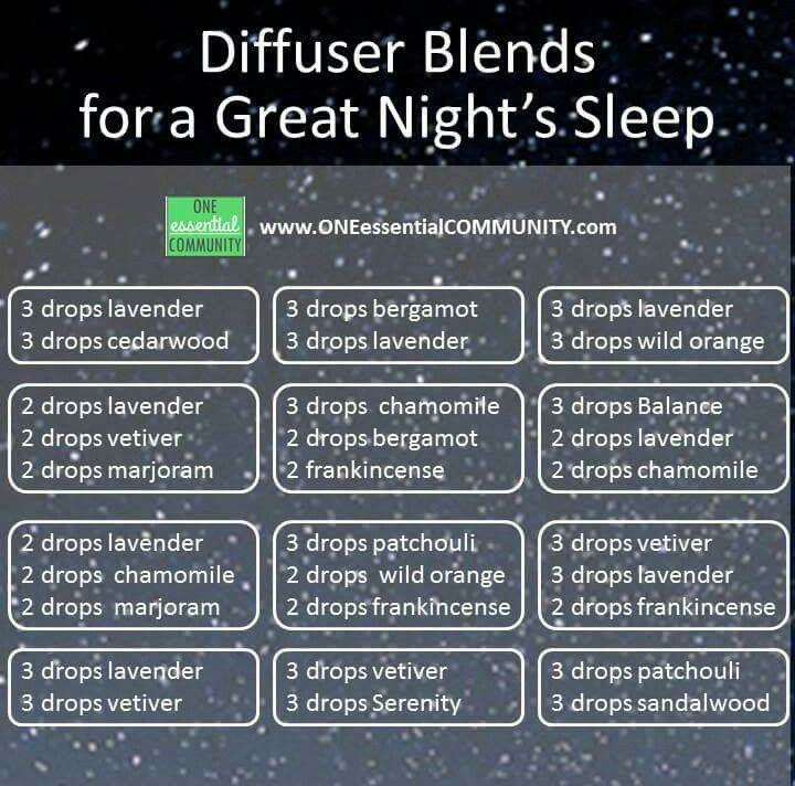 Essential oil diffuser blends for great night's sleep. I would sub plant therapy equivalents of the Balance and Serenity :-)