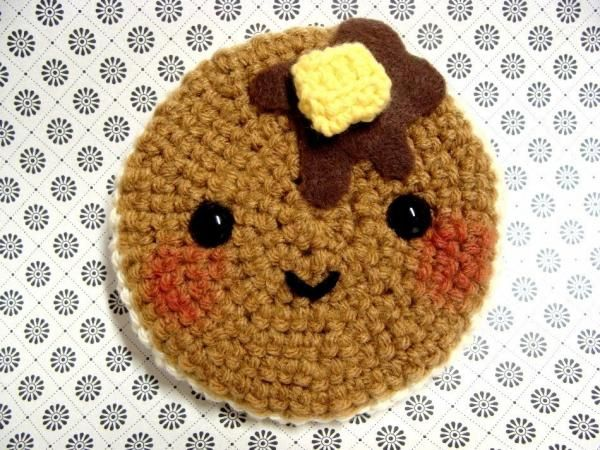Crochet Pancake sold on necessarynonsense's Etsy shop.  Cute other food items available as well!