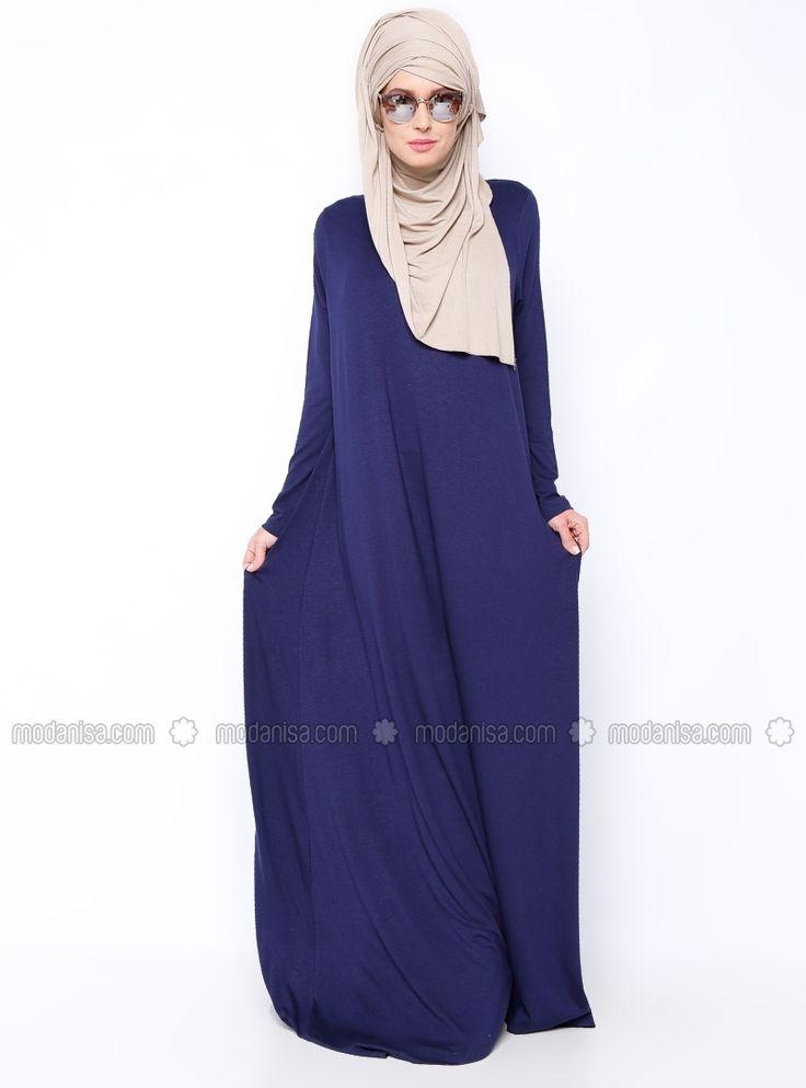 Everyday Basic فستان - بسيطة - ياقة الدراجة - أزرق داكن
