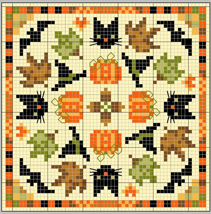 halloween theme cross stitch square