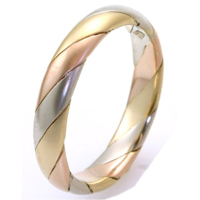Amazing tri color gold hand made fort fit wide wedding band