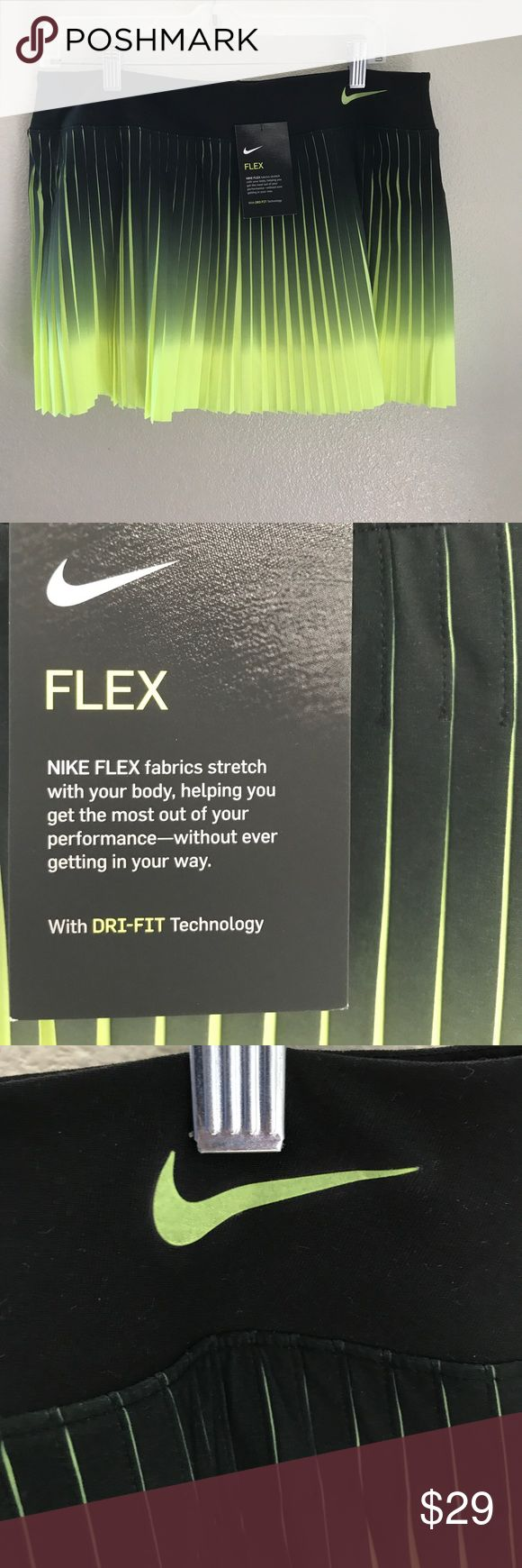 Black and Neon Yellow Nike Skorts size L Nike Flex pleated skorts size large new with tag. Black and neon yellow make this the perfect skirt for a morning and evening run or playing sports. Helping to make you visible. Nike Shorts Skorts