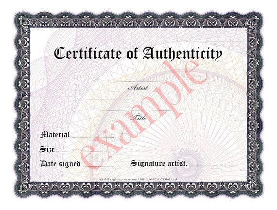 Certificate of Authenticity-Prestige of your artwork,Network Marketing materials ,Very good sales,